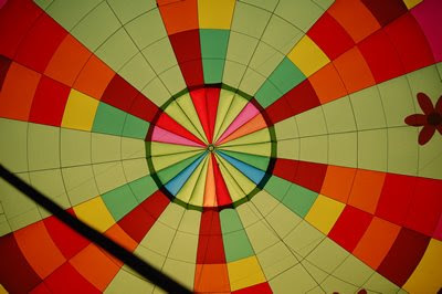 Inside of a hot air balloon.