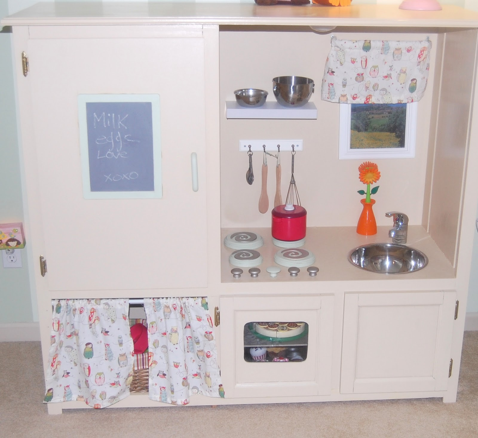 HeyDay Living: Play Kitchen- Repurposed Entertainment Center