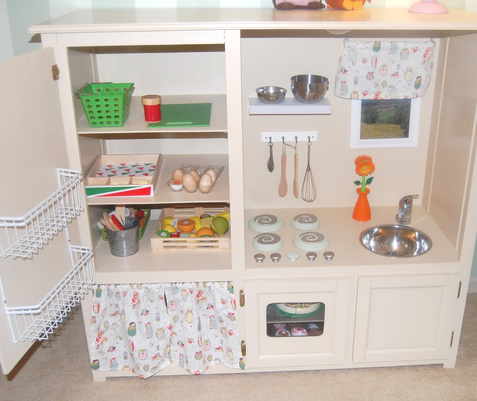Entertainment Center Kitchen Set: HeyDay Living: Play Kitchen- Repurposed Entertainment Center