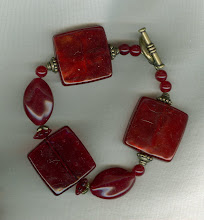 Red Square and Antique Gold Bracelet