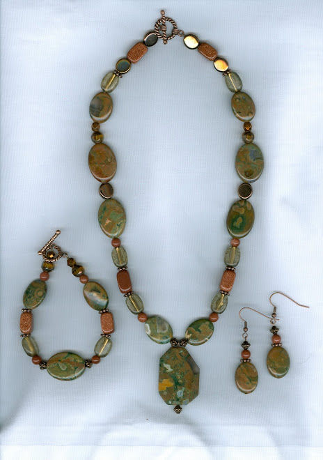 Rhyolite Stone with Goldstone Beads