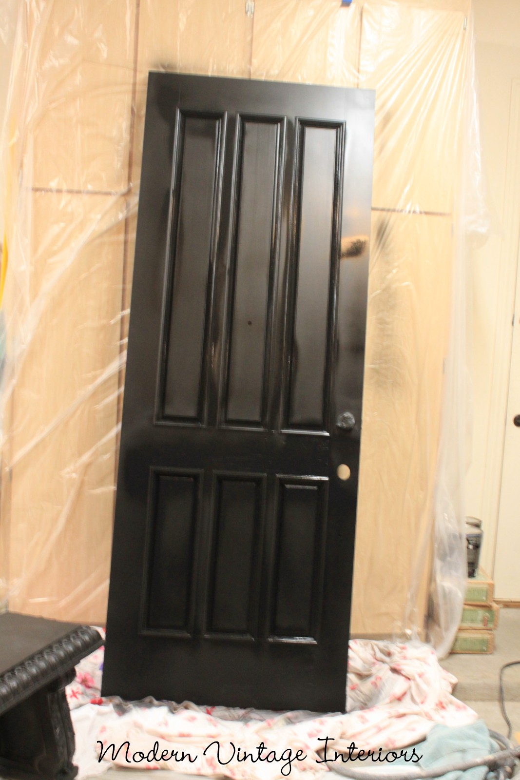 remodelaholic painting a wooden exterior door black. Black Bedroom Furniture Sets. Home Design Ideas