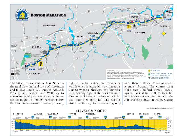 boston marathon course profile. 2011 oston marathon route.