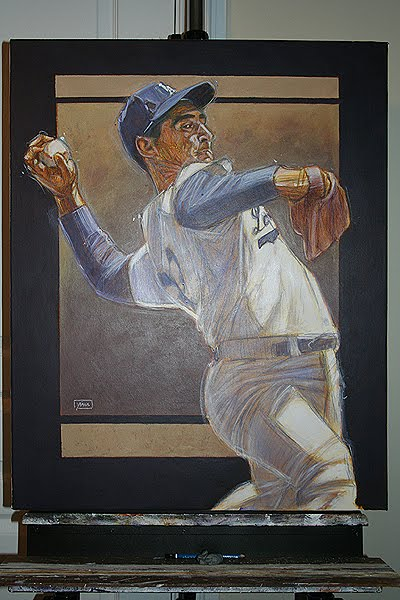 vin scully   homeboy sandy koufax acrylic painting  canvas