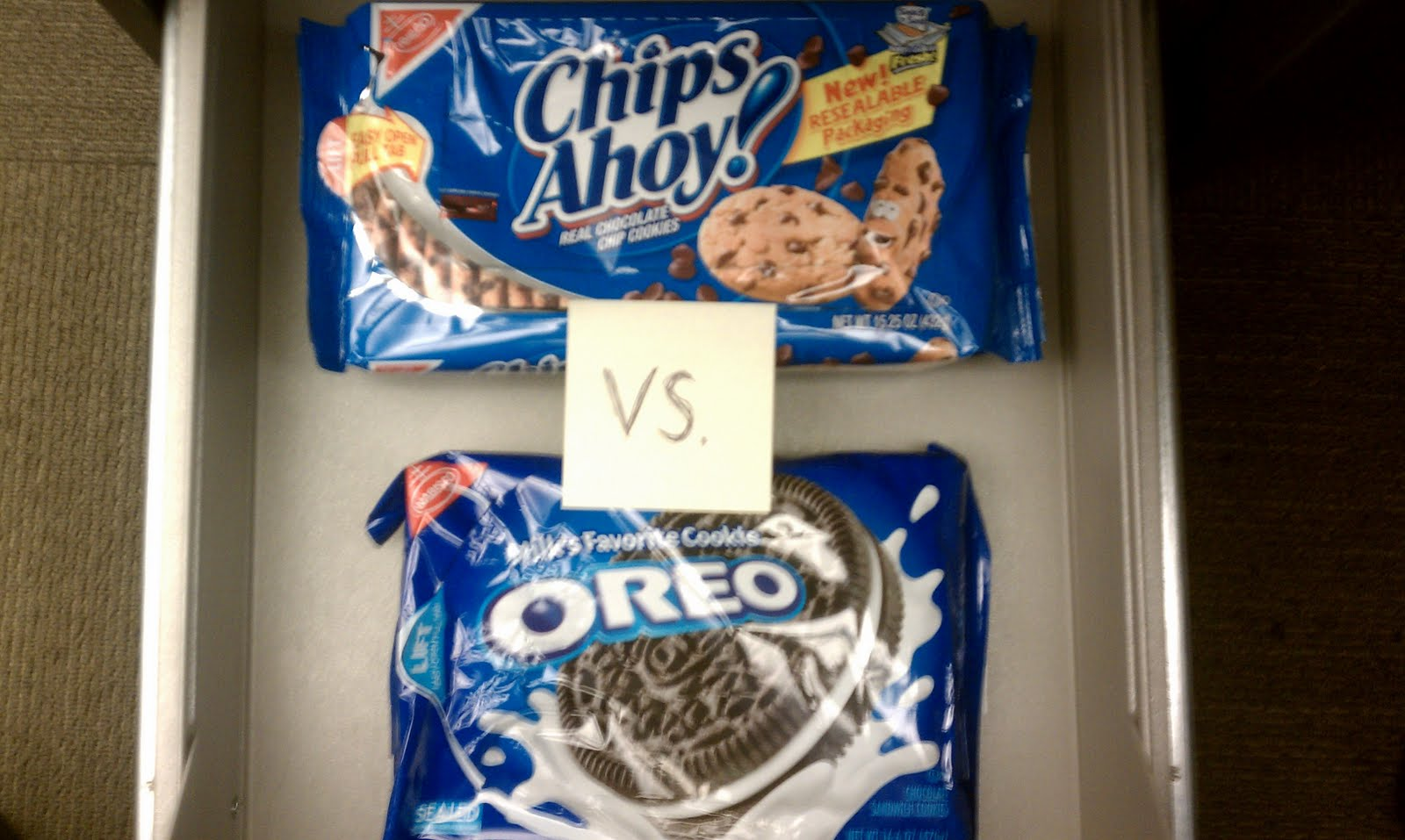 oreos v s chips ahoy 22042008 oreo vs chips ahoy  we would set out an equal number of oreos and chips ahoy on plates in the central area of our  woody's chalkboard josh@.