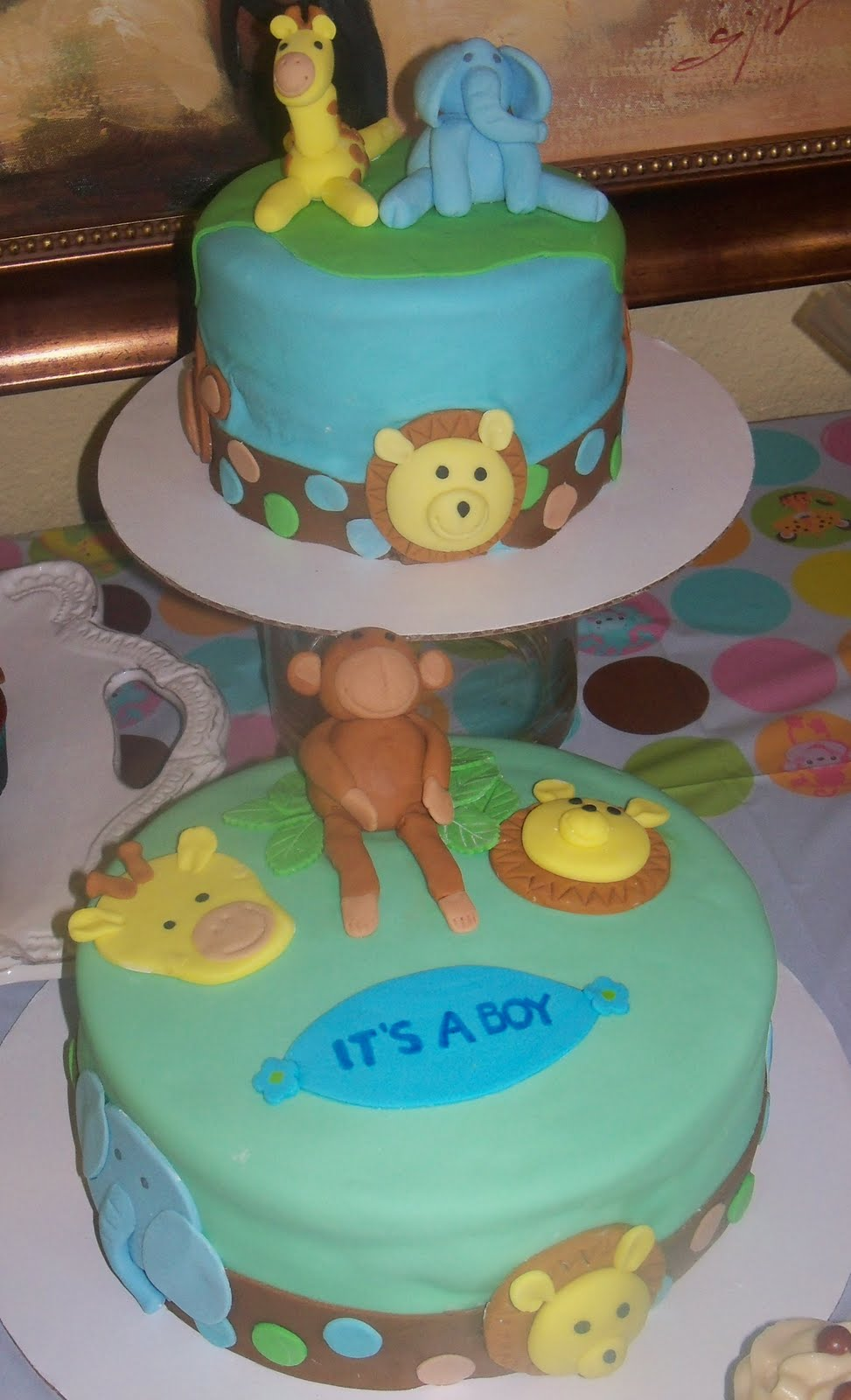 baby shower cake jungle animal theme for baby boy a combination of red