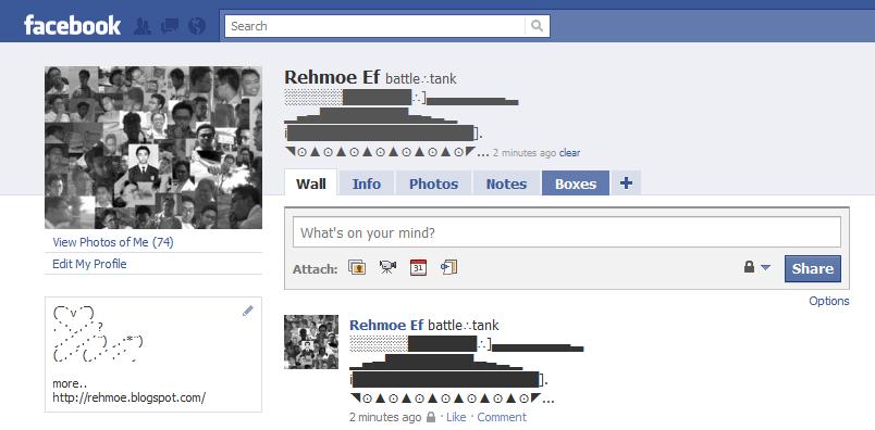 Facebook Status Symbol Art