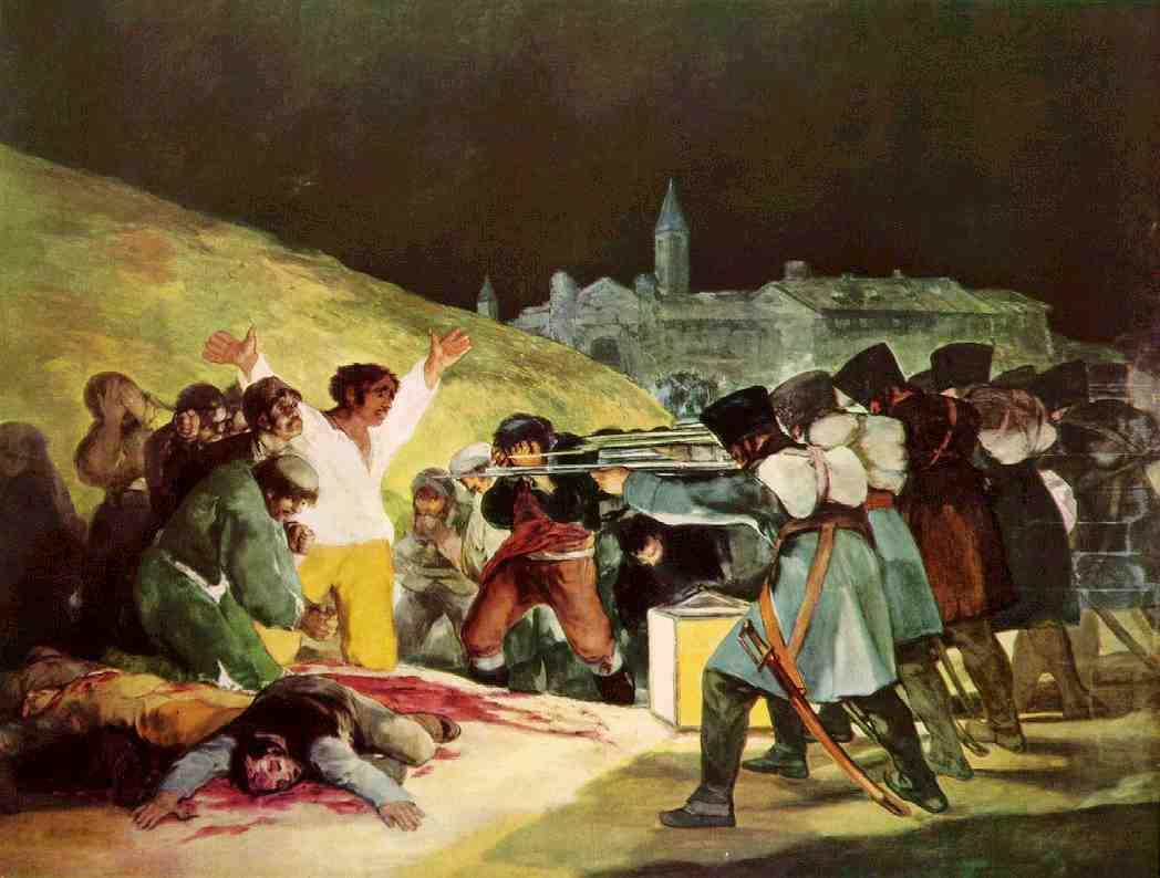Las obras más conocidas de la pintura y la escultura. Goya-los-fusilamientos-del-3-de-mayo