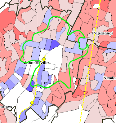 Use of cars for commuting in Johnsonville, with intensification zone