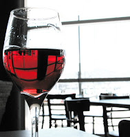 A glass of rosé at Zarbo, Chaffers Dock