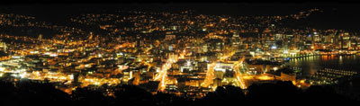 Wellington panorama at night