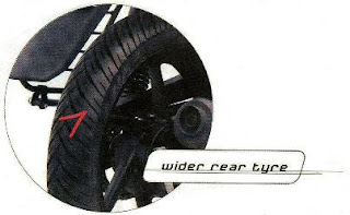 Wider rear tyre