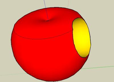 SketchUp畫的咬一口的蘋果