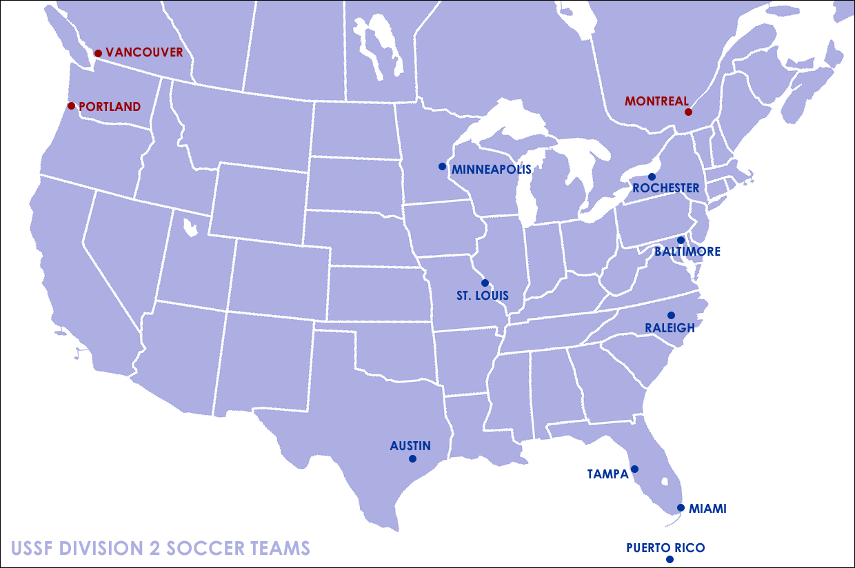 this map pinpoints the locations of the second tier professional teams note that come 2011 there will be no second tier teams west of the rocky mountains
