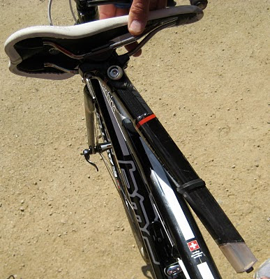 Notice the elastomer at the bottom of the seatpost