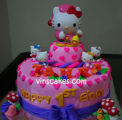 images of hello kitty cakes. 2 Tier Hello Kitty Cake for