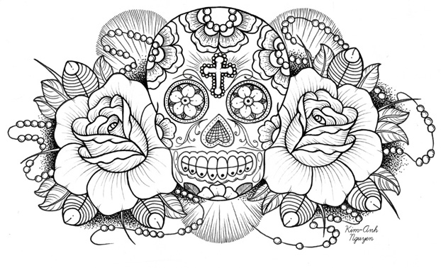 sugar candy skulls coloring pages - photo#24