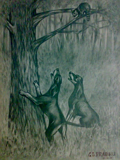 Drawing Hounds against Feline pencil sketching animals cats family tiger art drawing trees leaves branches tree top animal kingdom tiger claw forest jungle haunting dogs artwork