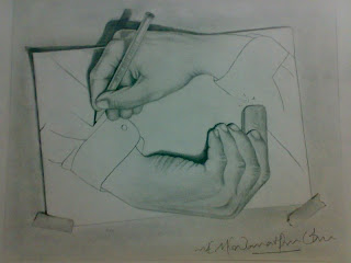 Escher's Nightmare One hand doesn't know what the other one is doing Pencil sketching artwork drawing of hand pencil rubber graphite charcoal Pencil on Chart paper