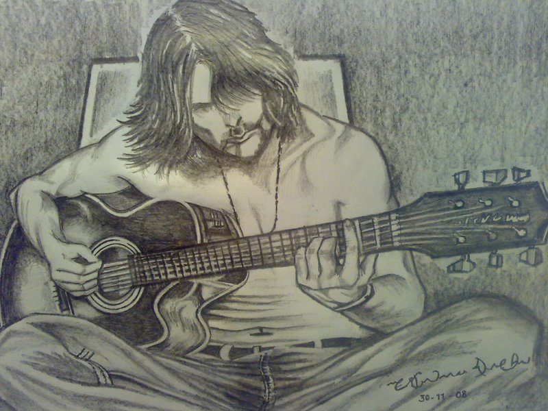 The guitarist the music of pencil sketching guitar drawing string song lyrics drawing poem
