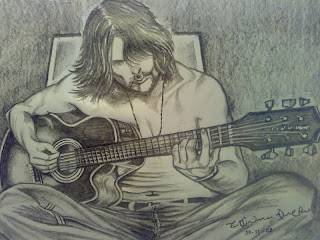 The Guitarist - The Music of Pencil Sketching - Guitar Drawing string song lyrics drawing poem Art long hair