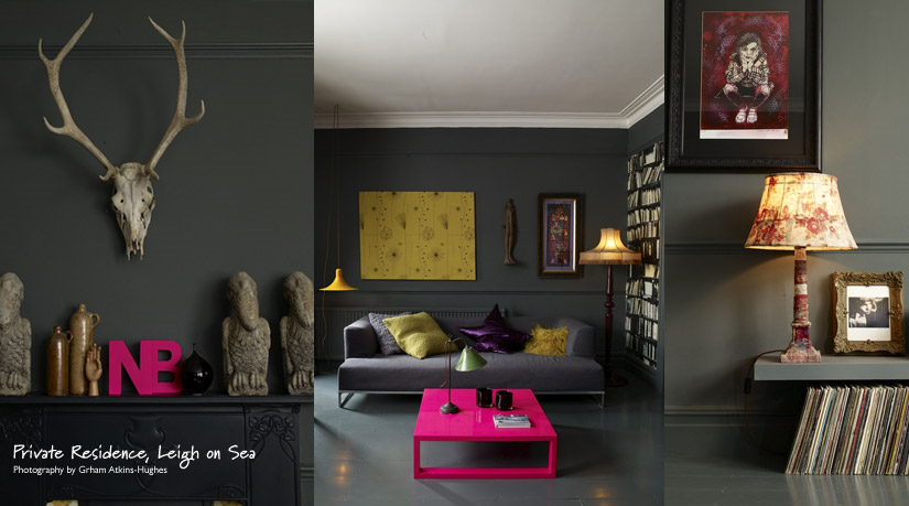 Abigail Ahern Is An Interior Designer Extraordinaire I Love These Rooms The Moody Dark Grey Walls Accessorised With Black And White Punches Of