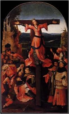 Hieronymus Bosch, tríptico da mártir crucificada, palácio ducal de Veneza, 1500-04