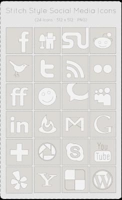 24 Icone Social Bookmark (Stile Punteggiato)