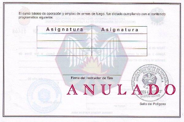 Certificado de Tiro (Req. Porte de Armas de Fuego y Renovacion)