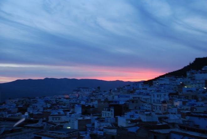 Crepúsculo en Chauen. Montañas del Rif. Reino de Marruecos.