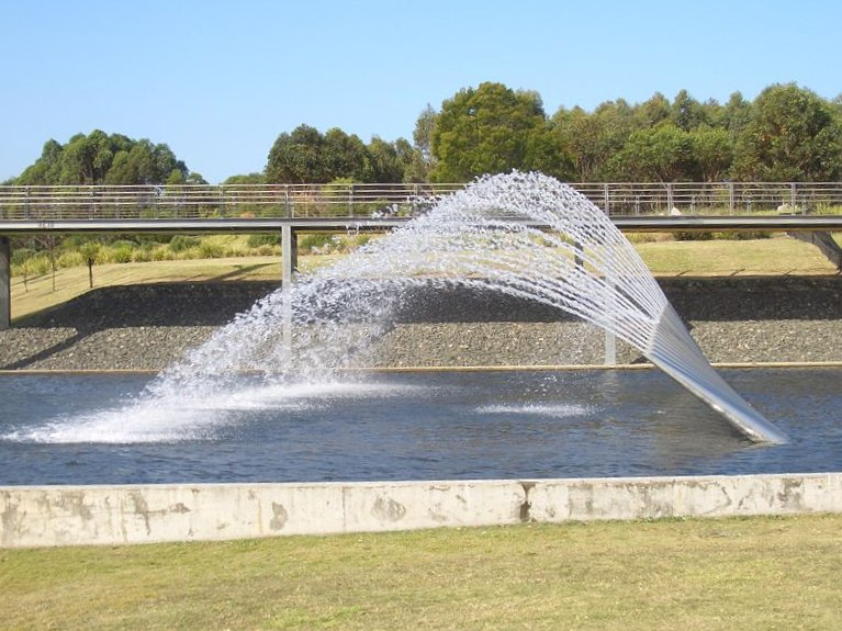 The Northern Water Feature Is Located At Sydney Olymic Park Homebush Bay Ten Metre High Fountains Consist Of Three Rows Plumes