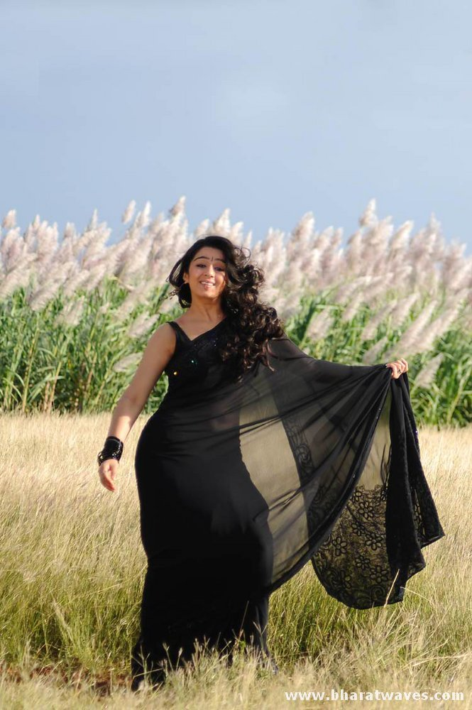 charmi black saree photos
