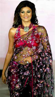 Sushmita Sen in Sleeveless Blouse and Transparent Sarees