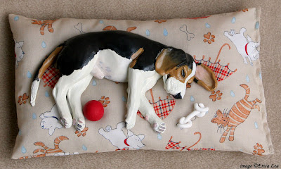 beagle, sculpture, polymer clay, dog