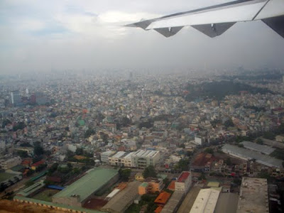 view of Saigon from the airplane