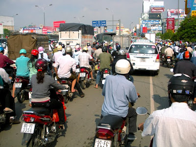 Traffic jam of cars and motorbikes in Saigon, Vietnam