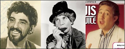 Tres ilustres silbadores: Nick Cravat, Harpo Marx y Luis Aguil que cantaba aquello de 'El alegre silbador'