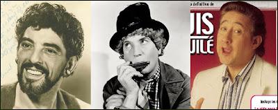 Tres ilustres silbadores: Nick Cravat, Harpo Marx y Luis Aguilé que cantaba aquello de 'El alegre silbador'