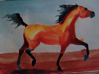 bay arab horse in ink