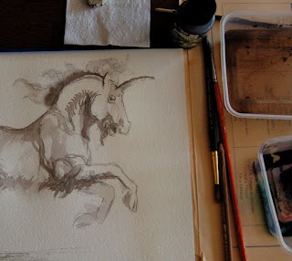 ink drawing of Durer's unicorn