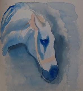 grey horse in ink - after Delacroix