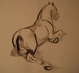 ink sketch of sitting horse
