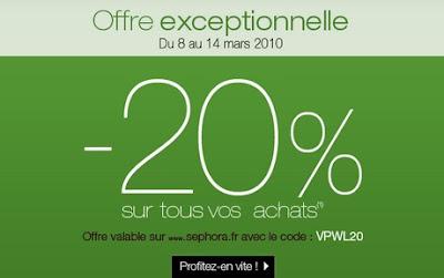 >Sephora   -20% sur votre commande