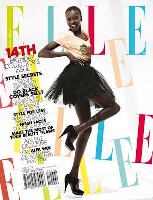 >Alek Wek en couv' du mag Elle South Africa