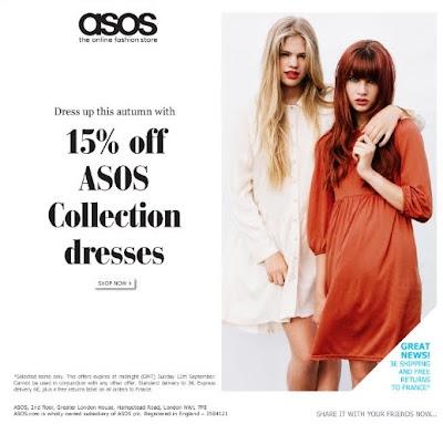 >15% sur les robes ASOS Collection