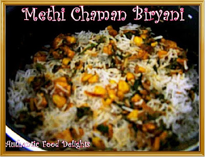 Authentic food delights methi chaman biryani i had tried this recipe from sanjeev kapoors book and as usual his recipes are just amazing and delicious i had done methi pulao before but this biryani forumfinder Gallery