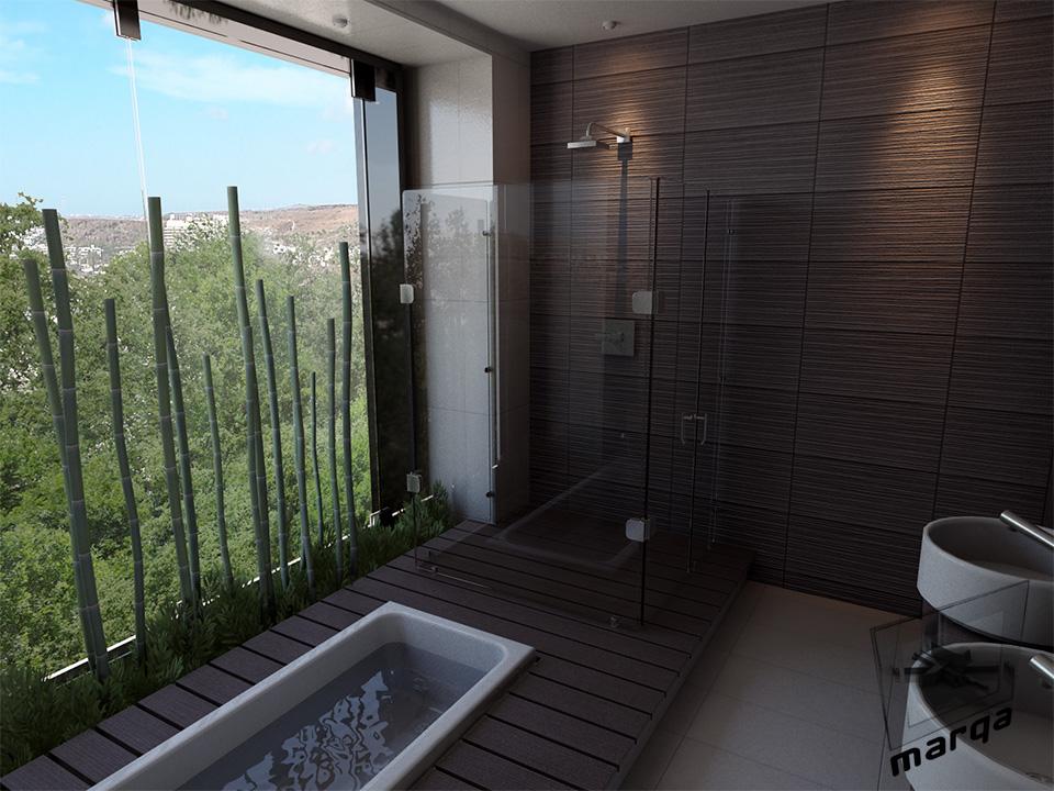 Baño Estilo Contemporaneo:Diseño de Baño Contemporáneo
