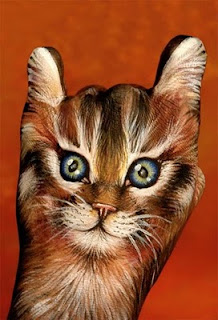 Hand paint of cat