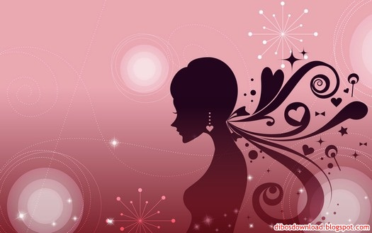pink silhouette of women and flowers