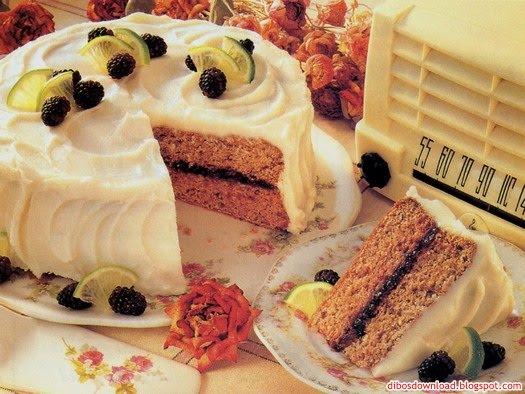 birthday cake with blackberries